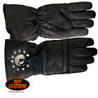 NEW Genuine Quality Soft  leather lined Cruiser motorcycle gloves with concho