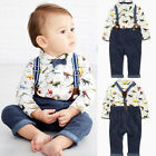 Toddler Kids Baby Boys Long Sleeve Shirt Tops+Braces+Pants Clothes Outfit Set