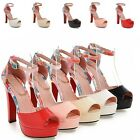 Womens Ankle Strap Buckle Stiletto Open Toe Shoes High Heels Club Sandals Party