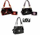 BLING WESTERN RHINESTONE FLOWER PURSE WALLET SET BLACK POLKA DOT OR PURPLE  RED