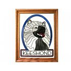 KEESHOND DOG HAND PAINTED FRAMED GLASS WALL PANEL/CAN BE PERSONALIZED
