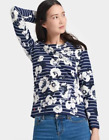 Joules New Harbour Print Jersey Top - Colour French Navy Posy Stripe