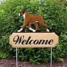 BOXER (NATURAL EAR)  WELCOME SIGN GARDEN STAKE *CHOICE COAT COLOR