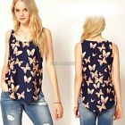Fashion Europe Womens Chiffon Butterfly Vest Blouse Sleeveless Tank Tops K0E102