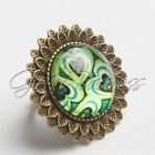 Vintage Retro Summer Flower Image Glass Dome Cabochon Antique Bronze Ring
