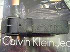 CALVIN KLEIN MEN'S CK LOGO BLACK ROLLER BUCKLE CRACKED LEATHER BELT BLACK