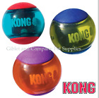 3-Pack KONG SQUEEZZ ACTION BALLS - MEDIUM Multi-Textured TPR Squeaker Fetch Ball