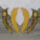 6PCS Embroidered Gold Peacock Wings Feather Patch Iron on Appliques FT37