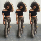 Womens Floral Printed Bell Bottom Wide Leg Flare Stretch High Waist Boho Pants
