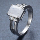 New 3 Colors Princess Ice Zircon Solitaire Ring White Gold Filled Jewelry Sz7-9