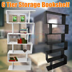 Wood Storage Bookcase White 6 Shelf Bookshelf Adjustable Furniture Shelving Book