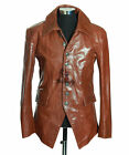 Men's LUCIFER TAN Glazed Smart Casual Soft New Real Cowhide Leather Blazer