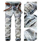 Men Bleached Light Blue Straight Biker Jeans Ripped Distroyed Slim Denim Pants