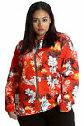 New Womens Plus Size Bomber Jacket Ladies Oriental Chinese Floral Print Nouvelle