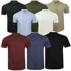 Mens Brave Soul Joey Tribune Grandad Collar Short Sleeved Cotton Summer Shirt