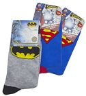 Boys PACK of 3 Pairs Superman & Batman Ankle Socks UK Child Shoe Sizes 9 to 3