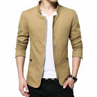 NEW Men's Jacket Slim Fit Collar Cotton Coat Fashion Casual Outwear Jacket Hot