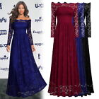 New Women's Long Formal Off Shoulder Evening Prom Bridesmaids Party Lace Dress