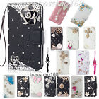 Handmade Bling Crystal Diamond PU leather flip wallet Phone Cover Case &strap #p