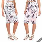 Womens Ladies Floral Stretch Fitted Pencil Bodycon Knee Long Midi Skirt Party UK