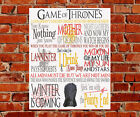 Game of Thrones TV Show Quotes METAL Sign Birthday Gift Stark Lannister Targery