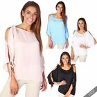 Women Ladies Satin Cut Sleeve Cold Shoulder Loose Batwing Top Blouse Shirt Party