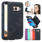 For Samsung Galaxy S8 Hidden Mirror Hard Back Case Cover With Wallet Card Holder