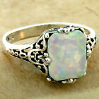 925 STERLING SILVER VICTORIAN ANTIQUE FILIGREE STYLE LAB OPAL RING,        #1022
