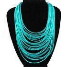 Womens Jewelry Gift Multi-Layer Rope Choker Bib Statement Long Necklace Chain h2