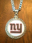 Kyпить STERLING SILVER PENDANT W/ HAND PAINTED NFL NEW YORK GIANTS SETTING - JEWELRY  на еВаy.соm
