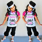 Toddler Kids Baby Girls Outfits Clothes Daddy little girl T-shirt+Pants 3pcs Set
