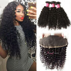 7A Malaysian Hair 3 Bundles 300G With 13*4 Lace Frontal Curly Human Hair Weaves