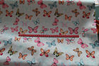 multi Coloured Butterfly on blue  100% cotton  Fabric material Butterflies