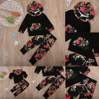 2017 New Baby Boy Girl Outfits Flower Clothes T-Shirt Long Sleeve Tops+Pants Set