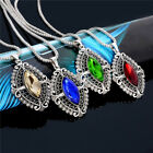 4 Color Women Silver Plated Jewelry Set Crystal Rhinestone Pendant Earrings