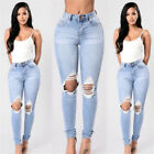 Women Slim High Waist Ripped Knee Hole Jeans Trousers Tide of Fashion New Hot