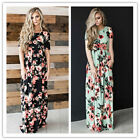 Ladies Crew-neck Party Long Dresses Short Sleeve Floral Maxi Slim Casual Fashion