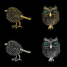 Vintage Design Crystal Owl Brooch Pins Jewelry Gifts For Women Party Handmade