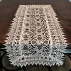 Table Runner, Doily, Mantel Scarf with Geometric Antique White Lace