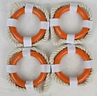 "Set of 4 2.5""Dia Orange and White Life Ring Napkin Rings"