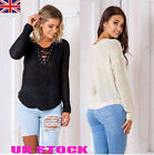 UK Womens Jumpers Tops Ladies Lace Up Hollow Casual Blouses Tops Sweatshirts