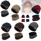 US 2pcs Kids Parents Winter Warm Knitted Hat+Circle Scarf W/Fleece Lining Unisex