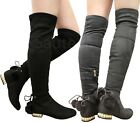 Ladies Womens Thigh High Over The Knee PomPom Pearls Flat Heels Boots Shoes Size