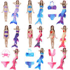 Kids Girls Fin Fairy Mermaid Tail Sparkle Swimwear 3pcs Bikini Sets Swimsuit