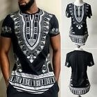 African Tribal Shirt Men Dashiki Print Succinct Hippie Top Blouse Plus Size 3XL