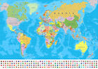 MAP OF THE WORLD WITH FLAGS EDUCATIONAL GEOGRAPHY SCHOOL POSTER PRINT A4 A3