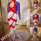 DRAG QUEEN MORGAN WELLS DESIGNS FAB. RED WHITE AND BLUE STARS AND STRIPES DRESS