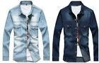 Fashion Men's Casual Denim Dress Shirt Stylish Long Sleeve Slim Fit Shirts Tops
