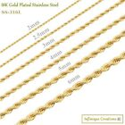 Kyпить Gold Plated Stainless Steel Rope Chain Necklace Bracelet Men Women 2mm-8mm  на еВаy.соm