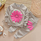 Toddler Kids Baby Girls Autumn Outfits Clothes T-shirt +Long Pants Flower Patten